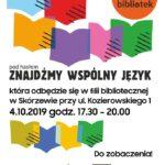 Plakat na Noc Bibliotek na 4 października 2019 w Dopiewie