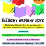 Plakat na Noc Bibliotek na 5 października 2019 w Puszczykowie