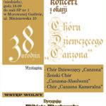 Plakat na koncert chóralny w Murowanej Gośłinie na 6 października 2019