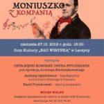 Plakat na spotkanie z Moniuszką na 27 paździenika 2019 w Łęczycy