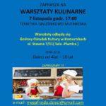 Plakat warsztatów kulinarnych na 7 listopada 2019 w Komornikach