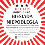 Plakat na biesiade niepodległej na 8 listopada 2019 w Czerwonaku