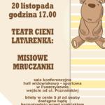 Plakat spotkania z teatrem dla dzieci na 20 listopada 2019 w Puszczykowie