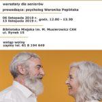 Plakat na zajęcia dla seniorów 6 i 13 listopada 2019 w Puszczykowie