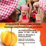 Plakat na spotkanie z dynią na 25 października 2019 w Puszczykowie