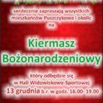 plakat kiermaszu bożonarodzeniowego w Puszczykowie 13 grudnia godz. 16-19