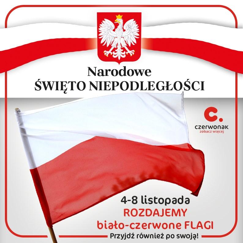 Czerwonak rozdaje flagi