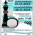 plakat truniejów szachowych dla dzieci 21 i 28 listopada 2019 godz. 17 w OAZA Kórnik