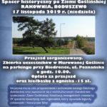 Plakat spaceru historycznego po ziemi goślińskiej Rakownia, Boduszewo - 17 listopada 2019