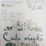 plakat warsztatów z rękodzieła artystycznego godz. 15-18