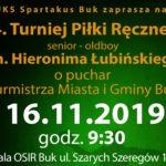 zaproszenie na 4. turniej piłki ręcznej o puchar Burmistrza Miasta i Gminy, 16 listopada godz. 9:30
