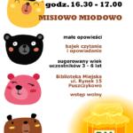 plakat Misiowo Miodowo - czytanie bajek - 28 listopada 2019, godz.16:30-17