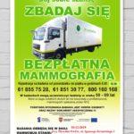 plakat bezłatnej mammografii w dniu 10 grudnia 2019 przy pływalni Oaza w Kórniku w godzinach 9-12