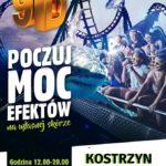 Plakat Cinema 9D w Kostrzynie Poczuj moc efektów na własnej skórze 11-13 listopada park miejski