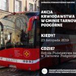 Plakat akcji krwiodawstwa w gminie Tarnowo Podgórne 23 listopada 2019 w SP1 w Tarnowie Podgórnym