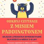 Plakat zajęć literacko-interaktywne dla dzieci w wieku 3-8 lat z okazji Dnia Pluszowego Misia, 25 listopada 2019 godz. 16 w Mosińskiej Bibliotece Publicznej