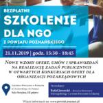 plakat bezpłatnego szkolenia dla organizacji pozarządowych z powiatu poznańskiego 21 listopada 2019 godz. 15:30-18:45