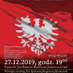 plakat kocnertu z okazji 101. rocznicy wybuchu powstania wielkopolskiego 27 grudnia 2019 godz. 19