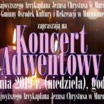 zapowiedź koncertu adwentowego 15 grudnia 2019 godz. 16
