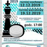 plakat turnieja dla dzieci w szachy i warcaby 12 i 19 grudnia godz. 17