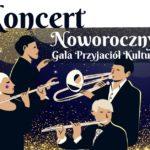 Koncert noworoczny - plakat przedstawiający czterechmuzyków