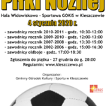Plakat Turnieju Piłkraskiego na 4 stycznia 2020 w Kleszczewie