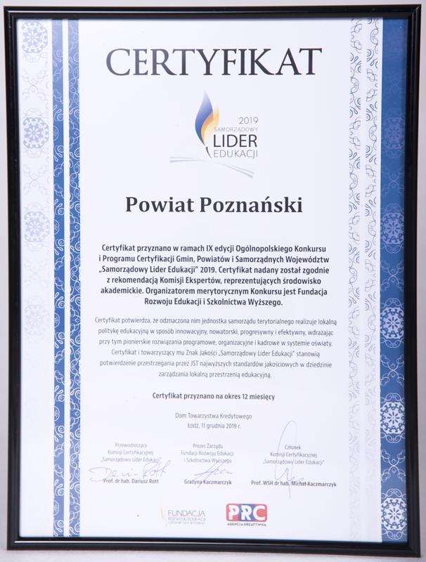 Certyfikat Samorząodowy Lider Edukacji 2019