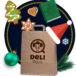 grafika - torebka Deli Park z czapką świętego Mikołaja i pierniczkami