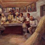 namalowany obraz przedstawiający rodzinę przy stole w starej chacie