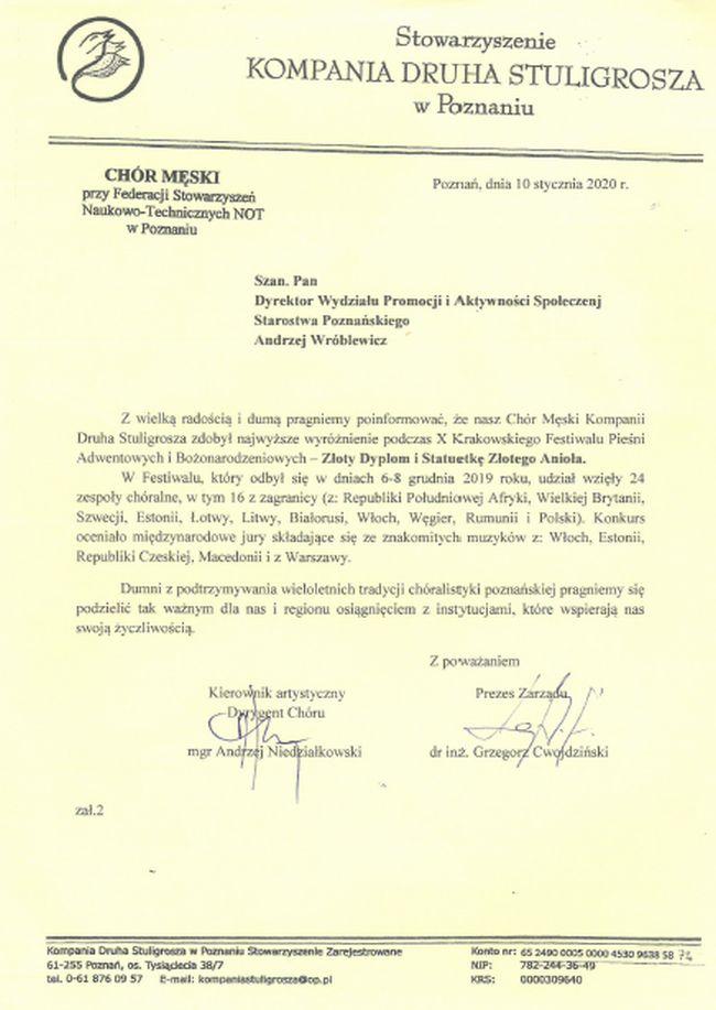 Podziękowania od Stowarzyszenia Kompania Druha Stuligrosza w Poznaniu