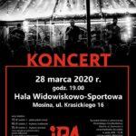 Plakat na koncert w Mosinie na 28 marca 2020