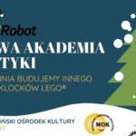 Plakat na zimową akademię robotyki w Mosinie od 27 do 31 stycznia 2020