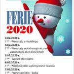Plakat półkoloni zimowych 2020 w Kostrzynie