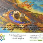 Plakat na wieczór gier planszowych w Baranowie