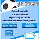 Plakat turnieju piłkarskiego w Mosinie na 11 stycznia 2020