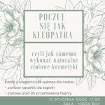 plakat na warsztaty kosmetyczne na 15 stycznia 2020 w Buku