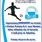 Plakat turnieju piłkarskiego w Mosinie na 18 stycznia 2020