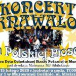 Plakat na koncert karnawalowy w Murowanej Goślinie na 15 lutego 2020