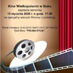 Plakat na kino seniora na 15 stycznia w Buku