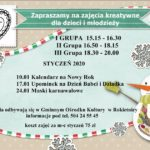 Plakat zajęć dla dzieci i młodzieży w styczniu 2020 w Rokietnicy