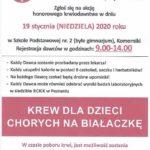 Plakat poboru krwi w Komornikach na 19 stycznia 2020