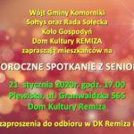 Plakat na spotkanie z seniorami na 21 stycznia 2020