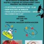 Plakat warsztatów z eksperymentowania na 17 stycznia 2020