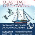 Plakat na spotkanie żeglarskie na 12 lutego 2020