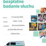 Plakat na bezpłatne badanie sluchu na 14 stycznia 2020 w Murowanej Goślinie