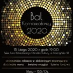 Plakat na bal karnawałowy na 15 lutego 2020