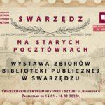 Plakat na wystawę pocztówek między 14 stycznia a 16 lutego 2020