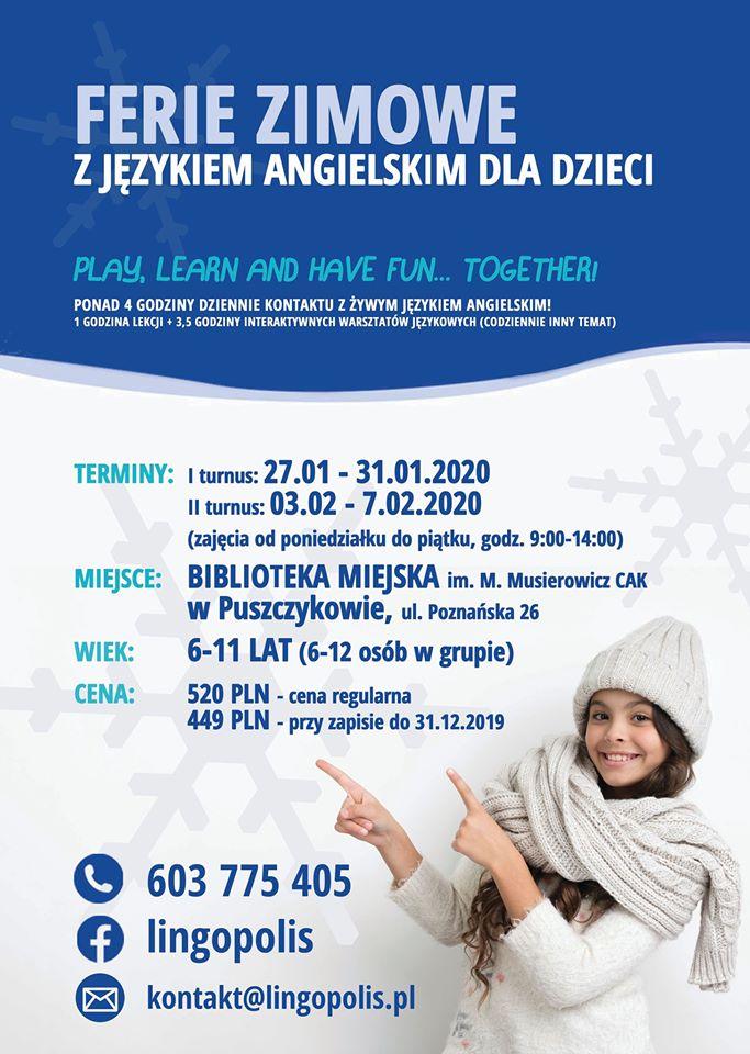 Ferie zimowe z językiem angielskim dla dzieci