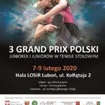 Plakat na grand prix Polski w tenisie stołowym na 7, 8 i 9 lutego 2020
