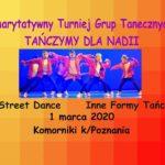 Plakat na turniej grup tanecznych na 1 marca 2020